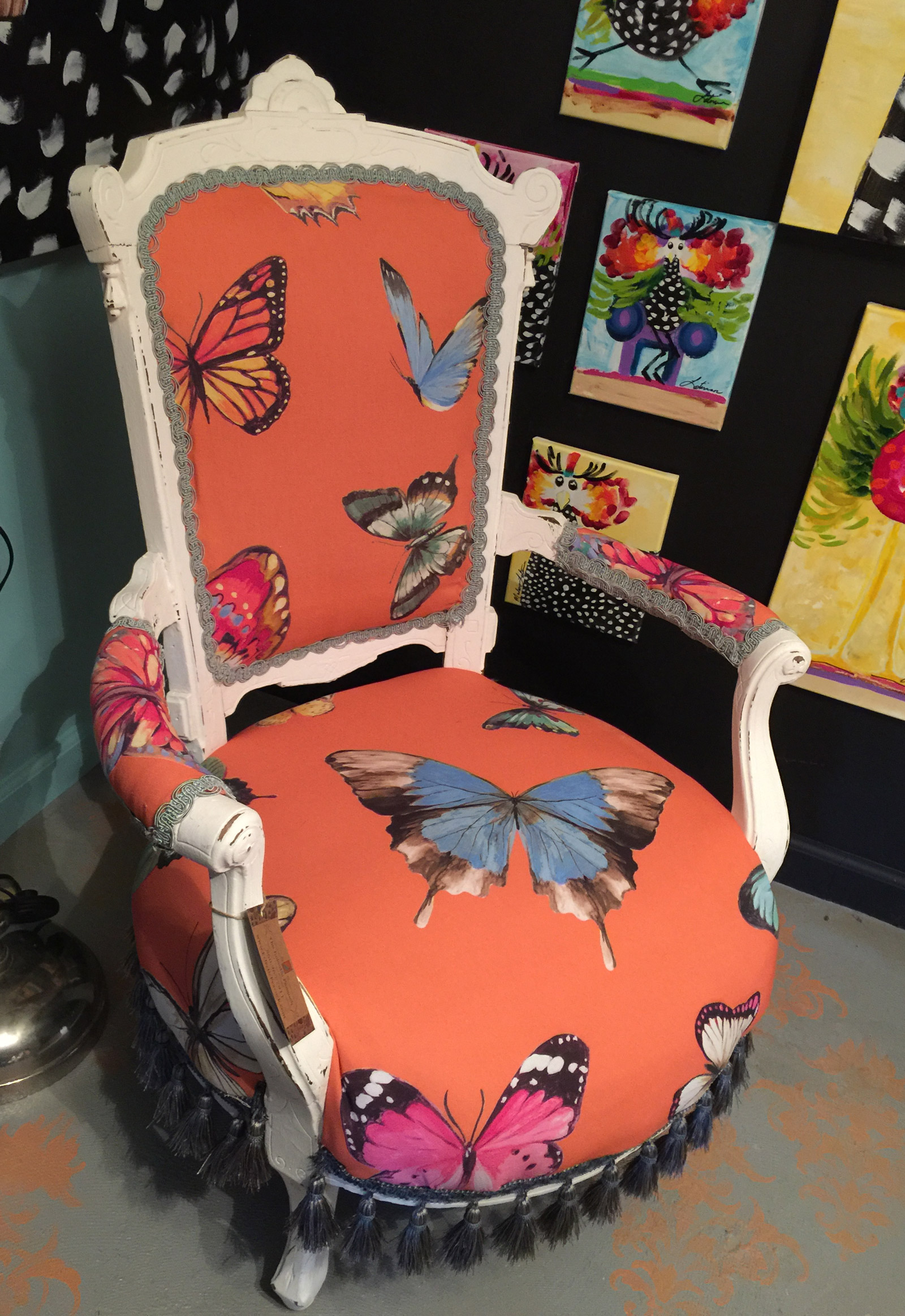 Custom-upholstered repurposed chair